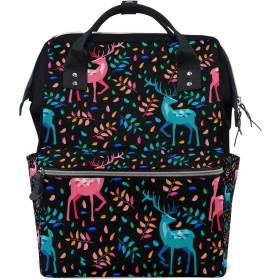 ママバッグ マザーズバッグ リュックサック ハンドバッグ 旅行用 可愛い 鹿柄 カラー ファション