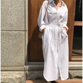品質改善!高品質新入庫!韓国ファッション CHIC気質 大人気 おしゃれな トレンド 新品 ロングセクション Vネック スリム 長袖 シャツワンピ