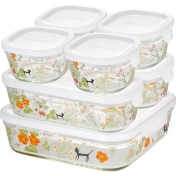 iwaki(イワキ) 耐熱 ガラス 保存容器 角型 パック&レンジ 7点セット シンジカトウ - colorful herbs 200ml×4個、500ml×2個、1.2L×1個 PS-PRNSNB7