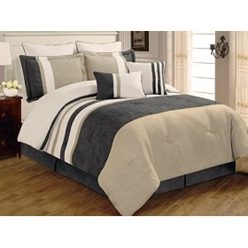 8 PC Grey, Beige and White Striped Micro Suede Comforter Set, King Comforter Set by Legacy Decor [並行輸入品]