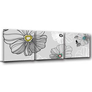 24mama掛畫-三聯式 典雅韓風 植物 花卉無框畫-60x60cm