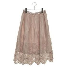 テチチ アウトレット Te chichi outlet チュール裾刺繍スカート (Sグレー)