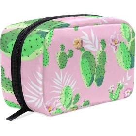 サボテン ピンク 化粧ポーチ メイクポーチ 機能的 大容量 化粧品収納 小物入れ 普段使い 出張 旅行 メイク ブラシ バッグ 化粧バッグ