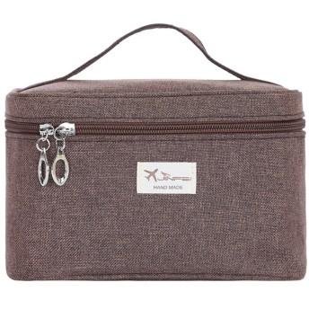 化粧バッグ旅行, 化粧ポーチ 小さい 大容量 ポータブル ストレージ 曇らされた布 ウォッシュ バッグ 女性化粧品バッグ-ブラウンB 20x13x13cm(8x5x5inch)