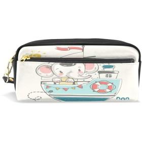 ALAZA セーラー ゾウ 鉛筆 ケース ジッパー Pu 革製 ペン バッグ 化粧品 化粧 バッグ ペン 文房具 ポーチ バッグ 大容量