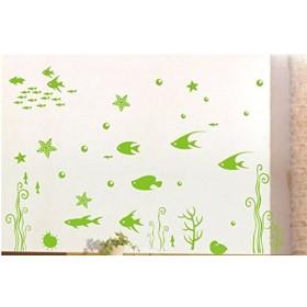 おしゃれな マリン風 海の中 おさかな 熱帯魚 水族館風 ウォールステッカー (ライトグリーン)