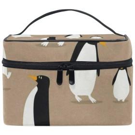 メイクポーチ ペンギン柄 化粧ポーチ 化粧箱 バニティポーチ コスメポーチ 化粧品 収納 雑貨 小物入れ 女性 超軽量 機能的 大容量