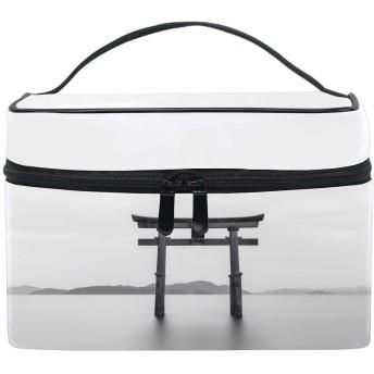 Construction Blackwhiteコスメポーチ 化粧収納バッグ レディース 携帯便利 旅行 誕生日 プレゼント