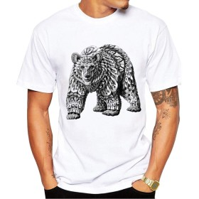 Yizu メンズTシャツファッションプリントTシャツタイガーベアクリエイティブアニマルTシャツソフトで快適な (色 : White, Size : XXXL)