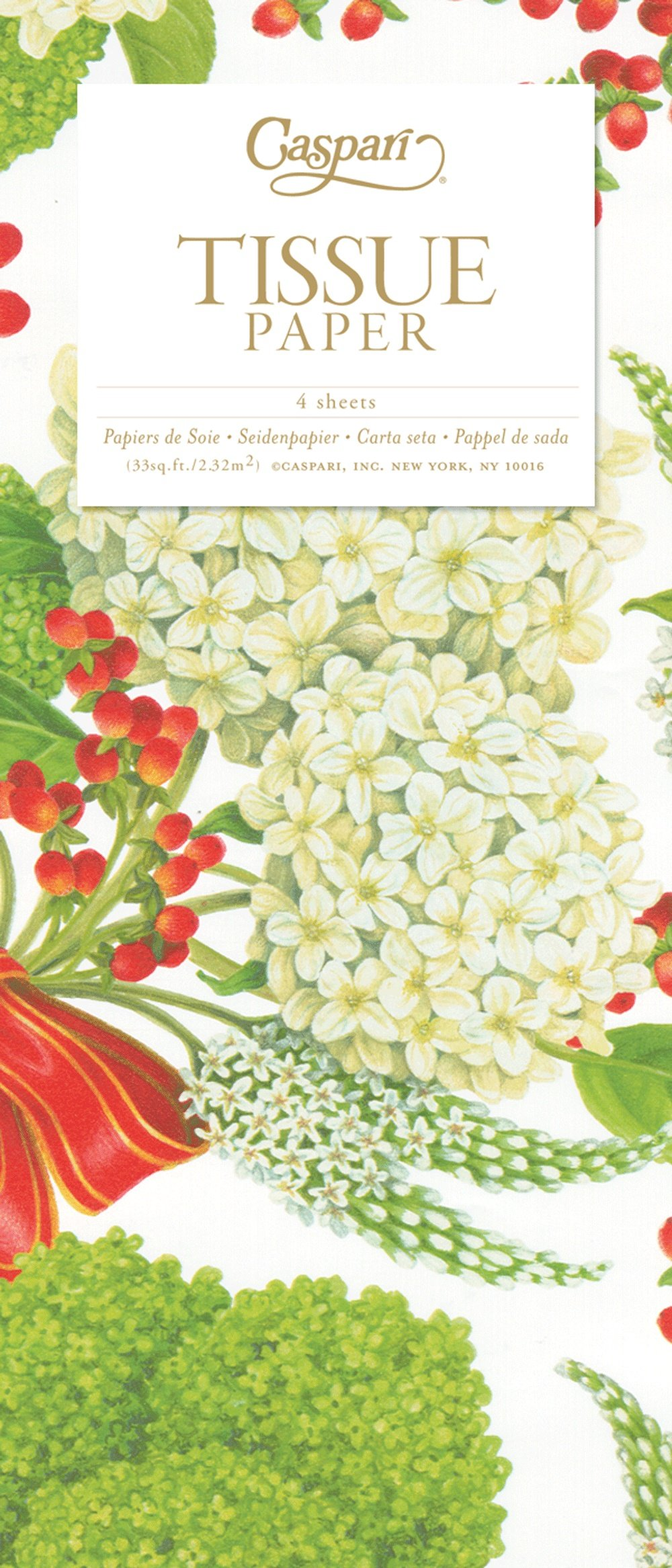 Entertaining with Caspari Tissue Paper 4-Sheets Wild Christmas Ivory