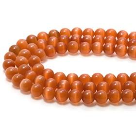 【石流通センター】【丸ビーズ】キャッツアイ(人工) 4mm ソフトオレンジ 天然石 パワーストーン