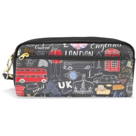 ALAZA ロンドン ビッグ ベン 鉛筆 ケース ジッパー Pu 革製 ペン バッグ 化粧品 化粧 バッグ ペン 文房具 ポーチ バッグ 大容量