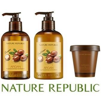 ネイチャーリパブリック(NATURE REPUBLIC) アルガン エッセンシャル ディープ ケア シャンプー + コンディショナー + ヘアパック セット (Argan Essential Deep Care Shampoo + Conditioner + Hair Pack Set) [並行輸入品]