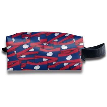 ラオス国旗波コラージュ 化粧ポーチ メイクポーチ ミニ 財布 機能的 大容量 アイシャドー 化粧品収納 小物入れ 普段使い 出張 旅行 メイク ブラシ バッグ ポータブル 化粧バッグ