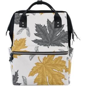 ママバッグ マザーズバッグ リュックサック ハンドバッグ 旅行用 紅葉柄 金黒色 ファション