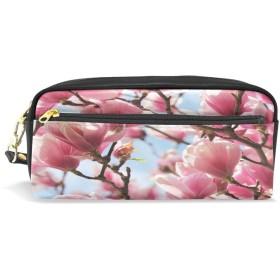 ALAZA 桜花 鉛筆 ケース ジッパー Pu 革製 ペン バッグ 化粧品 化粧 バッグ ペン 文房具 ポーチ バッグ 大容量