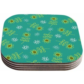 KessインハウスHolly Helgeson  Ditsy Daisy Teal  Coasters ( Set of 4 )、4 x 4インチ、マルチカラー