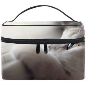 レディースキャットフェイスアイズライト 小物入れケース 化粧ポーチ 小物用収納ポーチ 化粧品収納袋