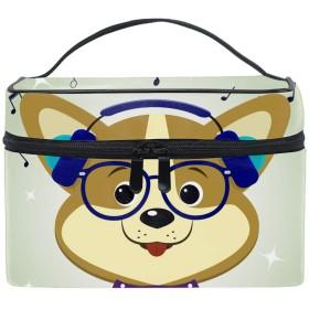 化粧ポーチ メイク収納 中身が見やすい犬コーギーミュージシャン 持ち運び用 小物入れ