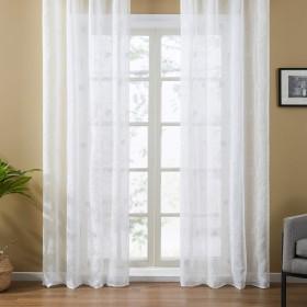 Topfinel レースカーテン UVカット 半遮像 遮熱 断熱 省エネ 北欧 おしゃれ 可愛い 洗える ローズ 幅100cm×丈110cm 2枚組 ホワイト