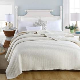 キルティング寝具スクエアライス刺繍掛け布団平織りベッドカバーウォッシュコットンブランケット個別寝具(200×230cm)-White