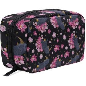 ファンタジーサイとカラフルな花柄 化粧ポーチ メイクポーチ 機能的 大容量 化粧品収納 小物入れ 普段使い 出張 旅行 メイク ブラシ バッグ 化粧バッグ