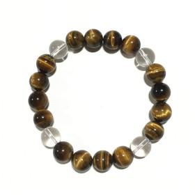 天然石 パワーストーン ブレスレット タイガーアイ 水晶 10mm 虎目石 (内径 約15cm)
