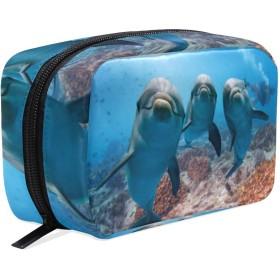 おもしろ イルカ 化粧ポーチ メイクポーチ 機能的 大容量 化粧品収納 小物入れ 普段使い 出張 旅行 メイク ブラシ バッグ 化粧バッグ