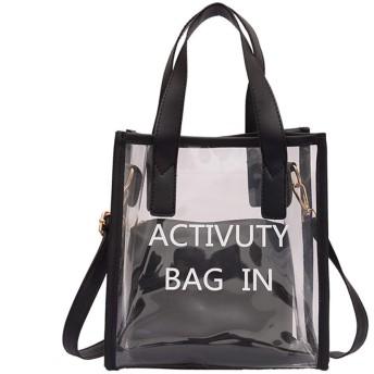 Kofun クリアハンドルバッグ, 女性クリアPvc透明ゼリーハンドバッグトートメッセンジャークロスボディショルダーバッグ ブラック