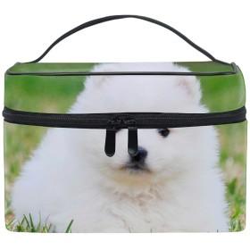 日本スピッツホワイトふわふわ犬子犬草収納バッグ コスメポーチ 化粧ポーチ 洗面用具入れ トラベルポーチ 旅行 出張 収納 コスメバッグ コンパクト 超軽量