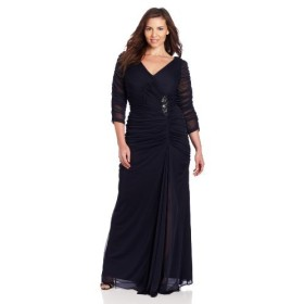Adrianna Papell Women's Plus-Size Three-Quarter Sleeve Ruched Gown, Ink 14W [並行輸入品]