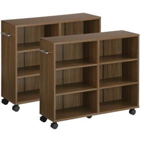 ぼん家具 本棚 キャスター付き 2台セット 隙間収納 木製 取っ手付き 収納カート 押し入れ収納 〔幅26cm〕 ウォールナット
