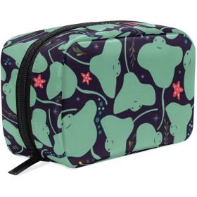 アカエイ柄 化粧ポーチ メイクポーチ 機能的 大容量 化粧品収納 小物入れ 普段使い 出張 旅行 メイク ブラシ バッグ 化粧バッグ