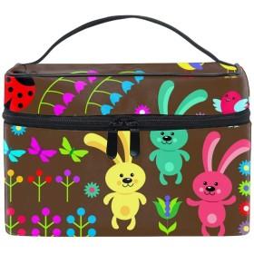 化粧ポーチ 化粧品 収納 コスメポーチ レディース ポーチ 大容量 軽量 防水Easter Eggs Animals And Flowers
