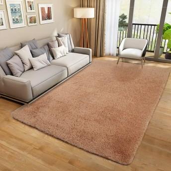 SANMU ラグ カーペット 長方形 洗える 130×190cm ラグマット 2畳 じゅうたん カーペット センターラグ 防ダニ 滑り止め付き 夏 冷房対応 ふわふわ 床暖房対応 ベージュ