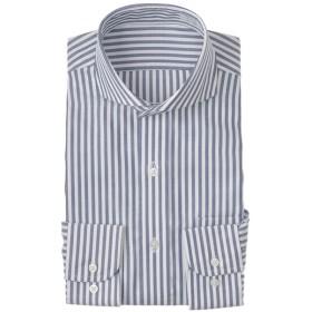 メンズ セブンプレミアム 超形態安定青ストライプカッタウェイドレスシャツ(レギュラーシルエット)