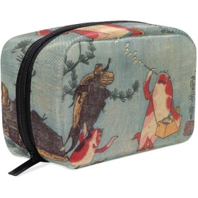 歌川国芳 金魚づくし 化粧ポーチ メイクポーチ 機能的 大容量 化粧品収納 小物入れ 普段使い 出張 旅行 メイク ブラシ バッグ 化粧バッグ