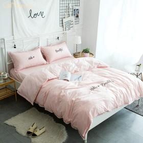 綿100% ベッドシーツ 寝具カバー 布団カバー 4点セット フリル ボックスシーツ ピローケース 枕カバー 高級感 シンプル 無地 北欧 モダン 可愛い ベッド用品 ダブル キング コットン 白 グレー ピンク
