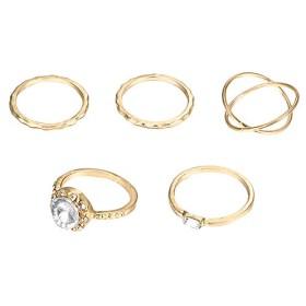 CUHAWUDBA 5ピース、ジルコンのインレイ、幾何学指輪のセット、レディース、金色、個性的な金属指輪、指輪