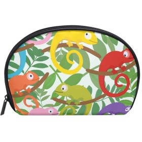 ALAZA カメレオンの木 半月 化粧品 メイク トイレタリーバッグ ポーチ 旅行ハンディ財布オーガナイザーバッグ