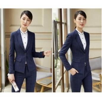 ビジネスパンツスーツ チェク柄 レディースフォーマル/事務服/ママスーツ/長袖スーツ/OL制服/2点セット/細身シルエットで、美スタイル魅