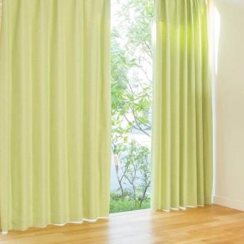 窓美人 パステル 遮光カーテン フレッシュグリーン 2枚入 幅100×丈110cm フック タッセル 断熱 形状記憶付