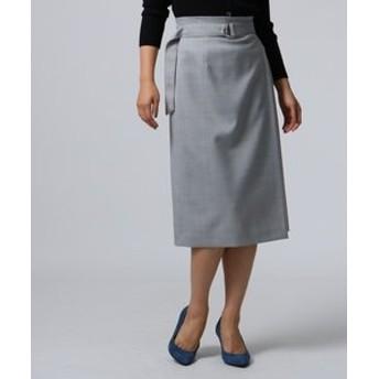 【UNTITLED:スカート】ウール混ツイルナロースカート
