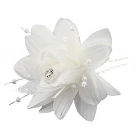 ACAMPTAR ファッション 5xヘアアクセサリー U形のシードビーズ バラ 白の合金ヘアクリップ ピン 白