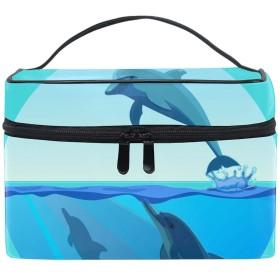 Dolphin Jumping Out Of Water化粧品収納 小物入れ 軽量 防水 旅行も便利 かわいい おしゃれ キャリーケース