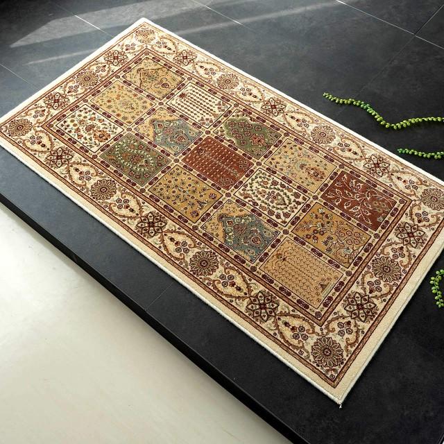 ヘシティ デザイン 玄関マット 屋内 室内 ペルシャ柄 035 70x120 cm アイボリー ウィルトン織り ベルギー製
