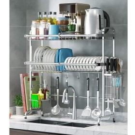 食器乾燥ラック シンク上ディスプレイスタンド 水切り ステンレススチール キッチン用品 収納棚 キッチン用品 ストレージラックステンレススチール (Size : 648227cm)