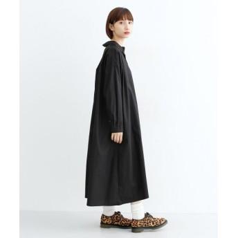 メルロー コットンフレアシャツワンピース レディース ブラック FREE 【merlot】