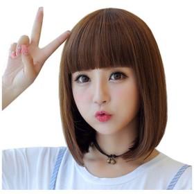 かつら、女性のショートヘアチー劉海シミュレーションヘアバックルウィッグショートストレートヘア