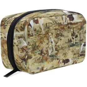 犬 化粧ポーチ メイクポーチ 機能的 大容量 化粧品収納 小物入れ 普段使い 出張 旅行 メイク ブラシ バッグ 化粧バッグ
